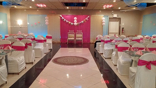 Decorated banquet hall by rajicreations raji creations for Baby shower party hall decoration ideas