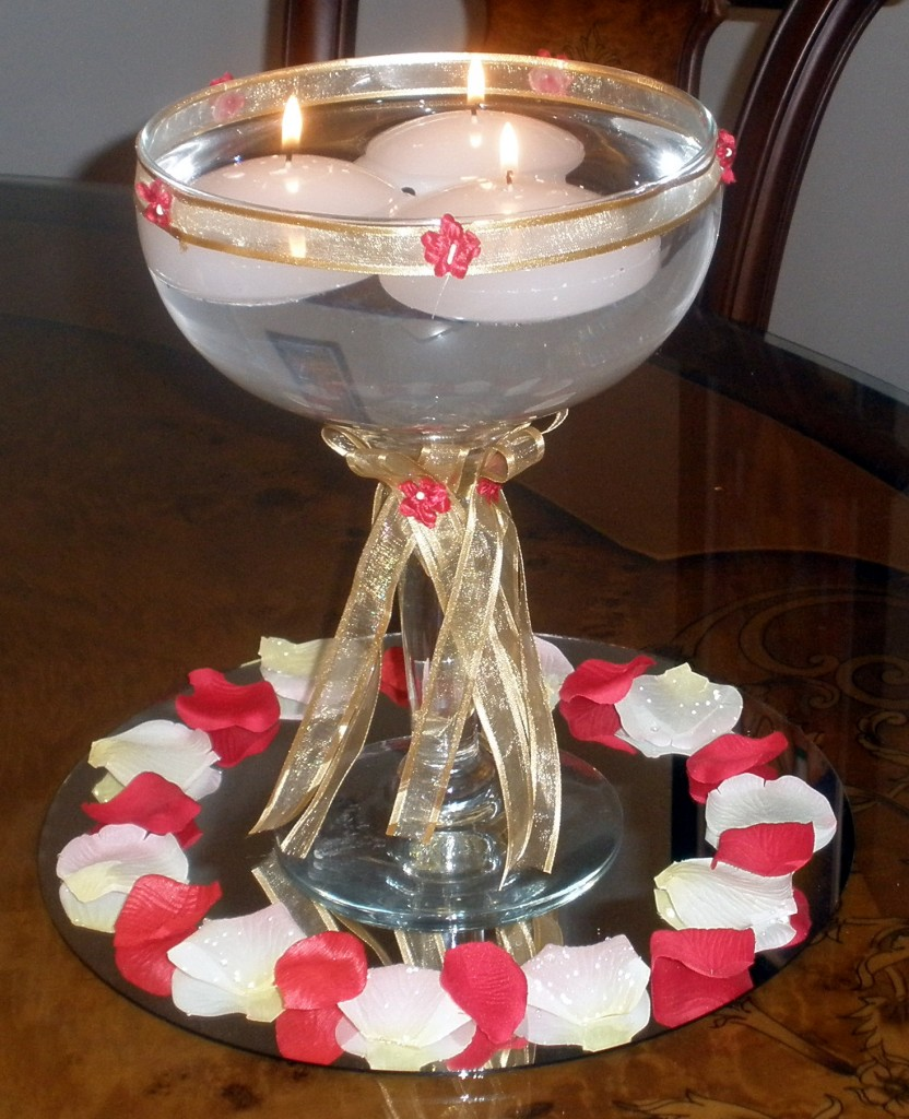 Floating candles in margarita glass raji creations