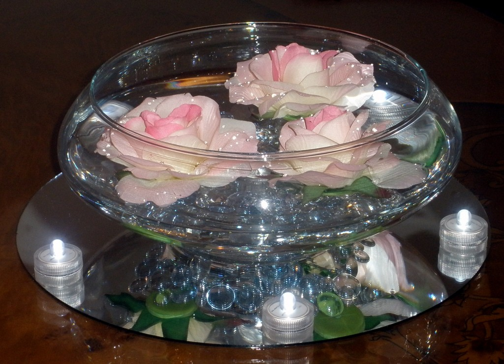 Floating roses in a glass bowl raji creations