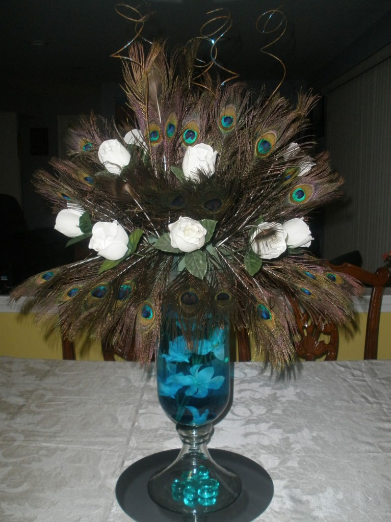 Peacock feather centerpiece raji creations