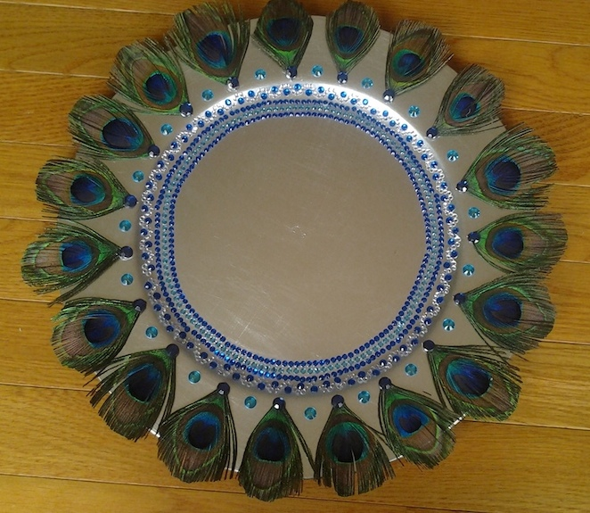 Decorative Tray With Peacock Feathers Raji Creations