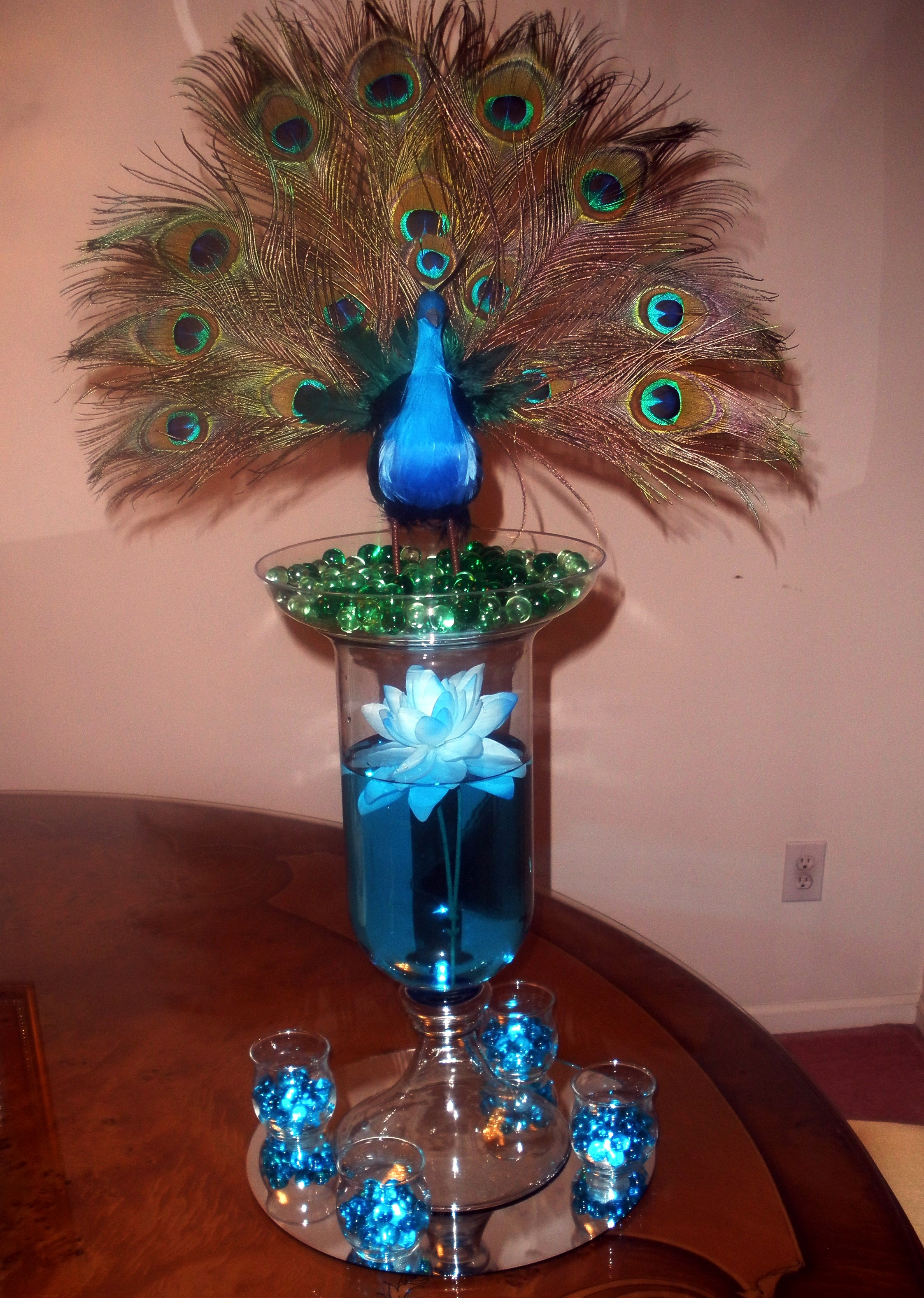 Peacock center piece raji creations