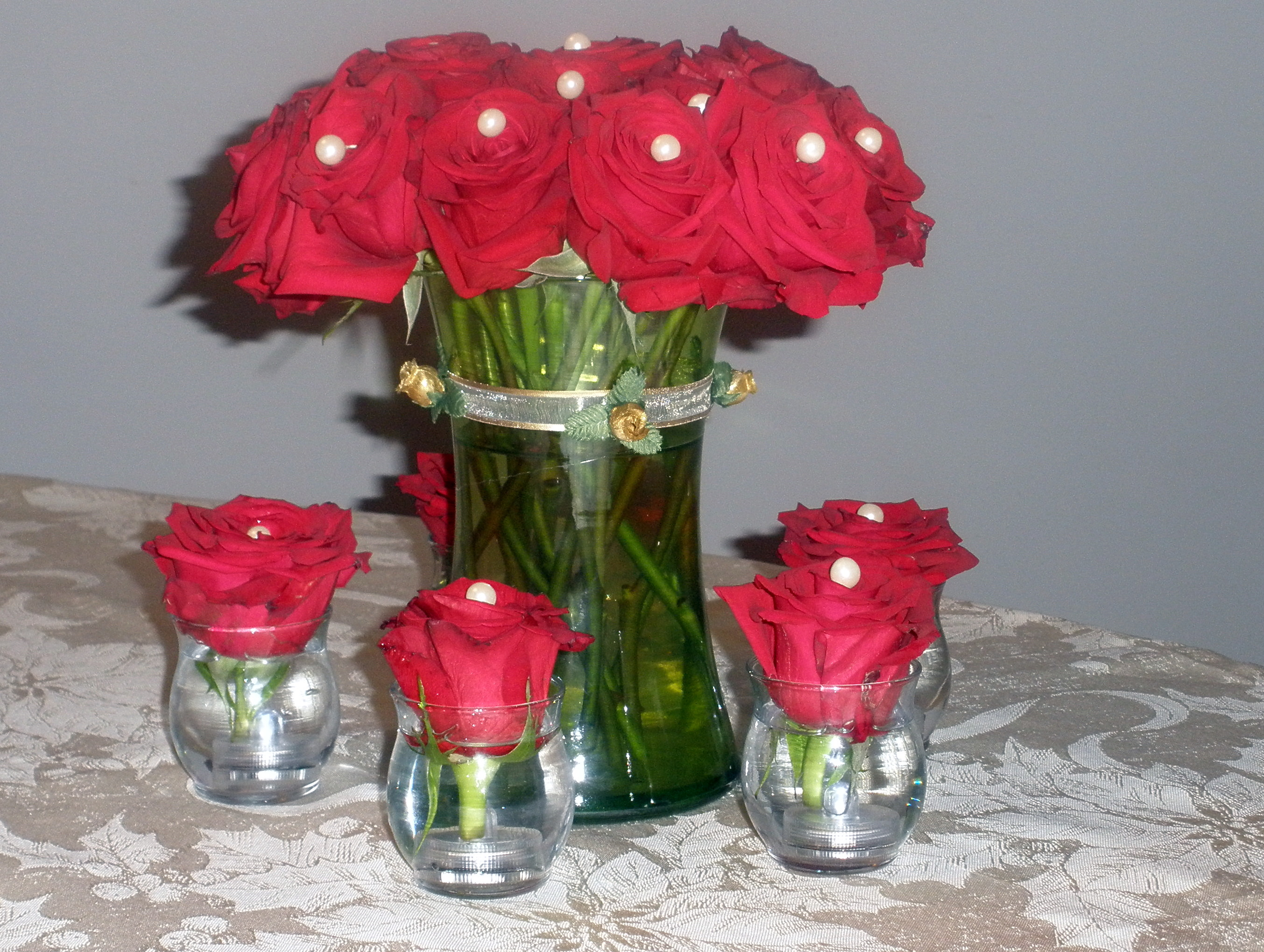 Red rose with beads raji creations